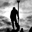 Neptune Statue Silhouette in a cloudy day by Francesco Malpensi