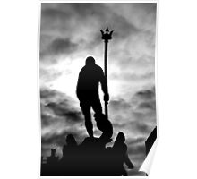 Neptune Statue Silhouette in a cloudy day Poster