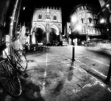 Night Cityscape, street bycicle cars and lights - Italy by Francesco Malpensi