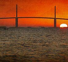 Sunshine Skyway Bridge Sunrise by Phillip  Simmons