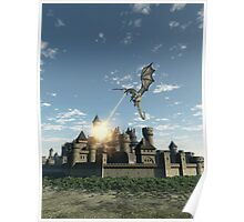 Dragon Attacking a Medieval Walled City Poster