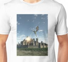 Dragon Attacking a Medieval Walled City Unisex T-Shirt