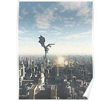 Dragon Attacking a Future City Poster