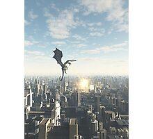 Dragon Attacking a Future City Photographic Print