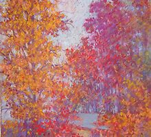 Fall trees on overcast day by Julia Lesnichy