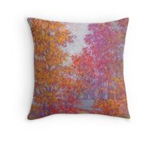 Fall trees on overcast day Throw Pillow