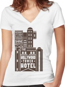 Tower of Terror  Women's Fitted V-Neck T-Shirt