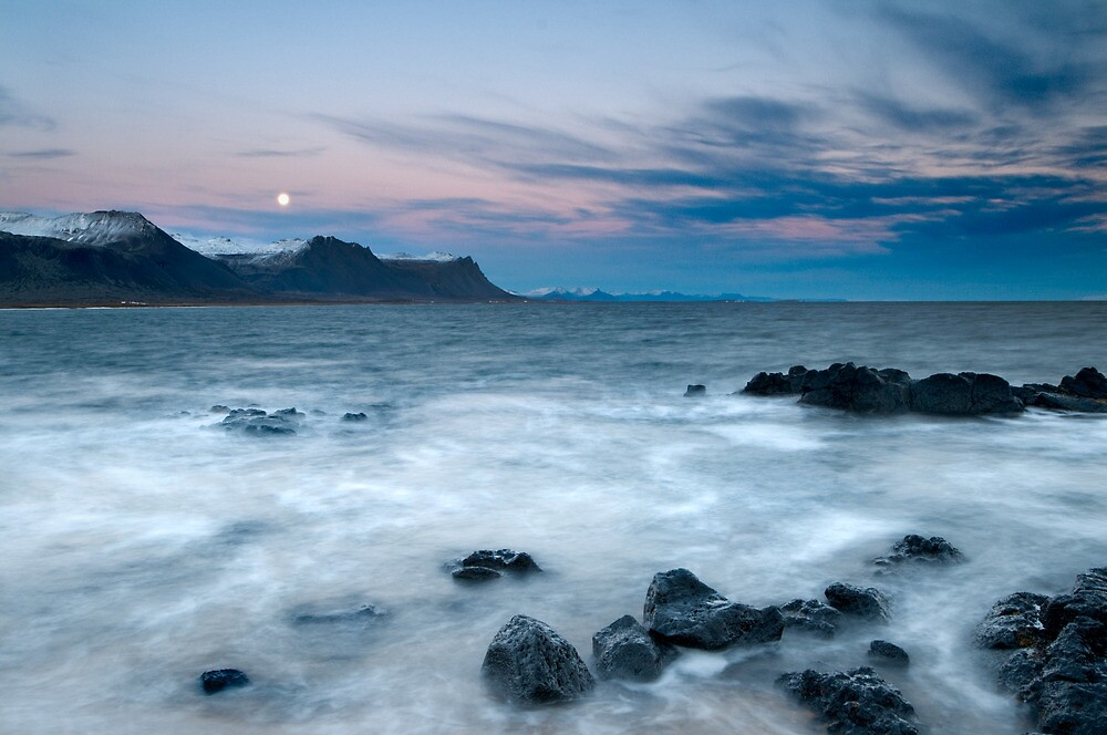 Moon and mountains at sunset - Iceland by Kathy White