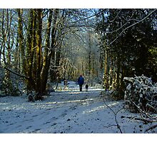 Woman & Dog in a Snow  Scene Photographic Print