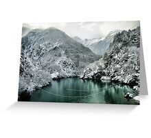 Winter mountain Landscape green water white snow Greeting Card