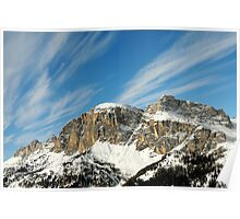Mountain winter Landscape with blue sky and light clouds Poster