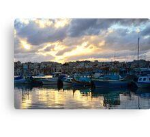 Sunset at Marsaxlokk Canvas Print