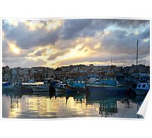 Sunset at Marsaxlokk Poster