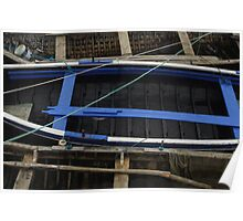 Working rowboats in small harbour Poster