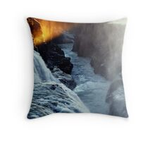 Golden Sunset in Gullfoss Throw Pillow