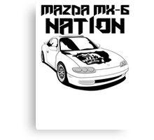 Mazda MX-6 Nation (3/4 View,Top Font) Canvas Print