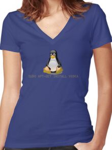 Linux - Get Install Vodka Women's Fitted V-Neck T-Shirt