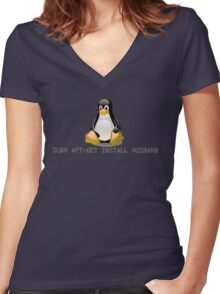 Linux - Get Install Husband Women's Fitted V-Neck T-Shirt