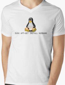 Linux - Get Install Husband Mens V-Neck T-Shirt