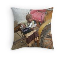 Girl selling postcards - Cairo Throw Pillow