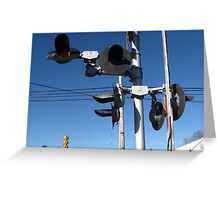 A set of broken red flashing  light's train signal Greeting Card