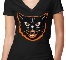 Halloween Cat Women's Fitted V-Neck T-Shirt