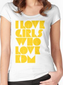 I Love Girls Who Love EDM (Electronic Dance Music) [mustard] Women's Fitted Scoop T-Shirt