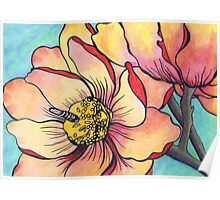 Pink, Peach & Yellow Stylized Peony Garden Design Poster