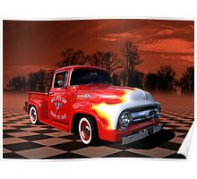 1956 Ford F-100 Pickup with Flames. Poster