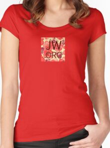 JW.org (red and peach flowers) Women's Fitted Scoop T-Shirt