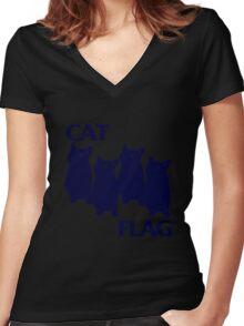 Cat Flag Funny Black Flag Women's Fitted V-Neck T-Shirt