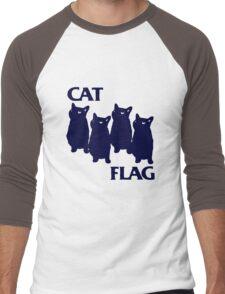 Cat Flag Funny Black Flag Men's Baseball ¾ T-Shirt