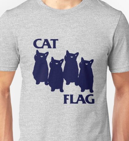 Cat Flag Funny Black Flag Unisex T-Shirt