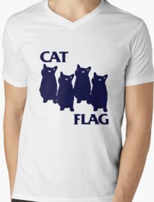 Cat Flag Funny Black Flag Mens V-Neck T-Shirt