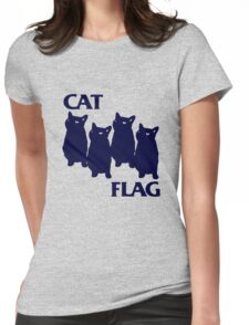 Cat Flag Funny Black Flag Womens Fitted T-Shirt