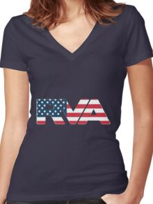 RVA - USA Women's Fitted V-Neck T-Shirt