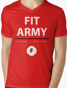 Fit Army Tank in Red/White/Black Mens V-Neck T-Shirt