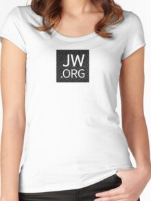 JW.org (black floral pattern) Women's Fitted Scoop T-Shirt