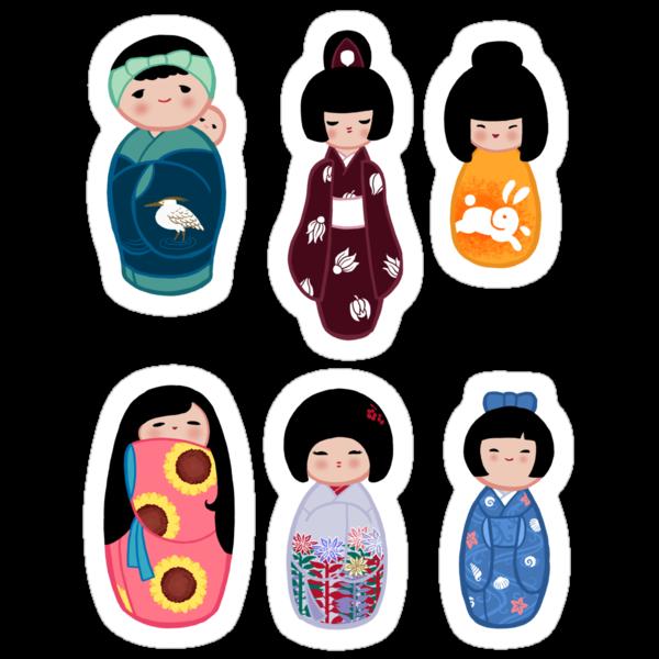 Kokeshi stickers 3 by Joumana Medlej