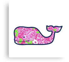 Pink Flower Whale Canvas Print