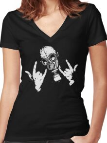 Devil Horns (White Version) Women's Fitted V-Neck T-Shirt