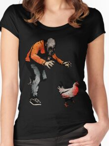 LEROY VS THE EVIL ZOMBIE CHICKEN! Women's Fitted Scoop T-Shirt