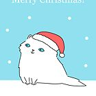 White Persian in Santa Hat by zoel