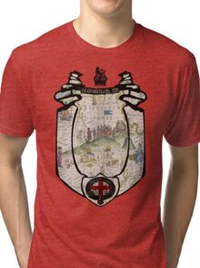 fosse manor hotel cotswolds UK (map and seal) Tri-blend T-Shirt