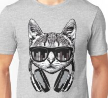 Headphones Cat Equalizer Glasses Unisex T-Shirt