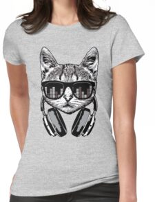 Headphones Cat Equalizer Glasses Womens Fitted T-Shirt