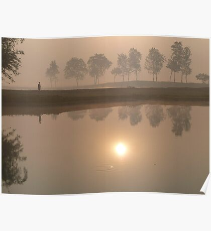 Dawn by the Lake Poster