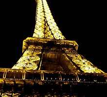 Looking up at Eiffel Tower at Night by kbudz