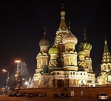 St. Basil's, Moscow, Russia, at night by kbudz