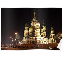 St. Basil's, Moscow, Russia, at night Poster